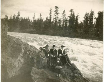 vintage photo 1908 Group Sit by Edge of Rushing River