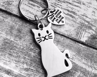 Cat Kitty Kitten Pet Hand Stamped Heart Personalized Silver Keychain