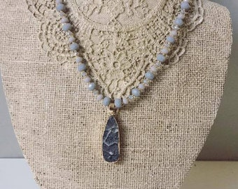 Gray Bead necklace with druzy