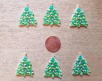 set of 6 large Christmas tree buttons