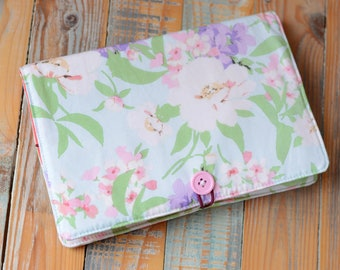 Book cover, Fabric book cover, Reusable notebook case, Travel journal cover, Diary cover,Removable book case, Spring flower, Blue book cover