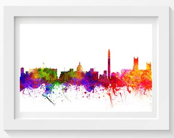 Washington DC Skyline In Color Poster, Home Decor, Gift Idea 02