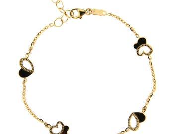 18K Yellow Gold Open Butterflies and Open Hearts Bracelet 7 inches with extra rings starting at 6.2 inches
