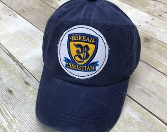 Berean Christian School Embroidered Raggy Patch Solid Baseball Cap Hat