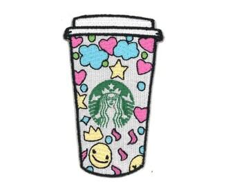 """3.5"""" Starbucks Coffee Cup Iron-On Patch Cappuccino Late Latte Frappuccino Cafe Caffe Espresso caramel macchiato Barista Shot Pastel Goth"""