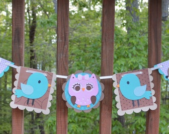 Teal & Pink Enchanted Forest Banner Woodland Wildlife Banner Forest Birthday Banner Forest Baby Shower It's a Girl Shower Prop READY TO SHiP