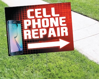Cell Phone Repair Yard Sign Corrugated Plastic with Free Stakes