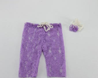 Handmade Newborn Mini Lace Pants with matched Headband (full set)Baby Shower Gift Props for Baby Photography