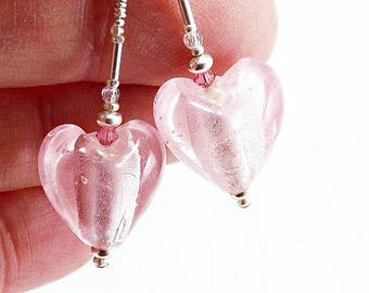 Shimmery Pastel Pink Glass Bead Heart Earrings, Puffed Pink Hearts with Silver Foil Centers Swarovski Crystals and Silver Beads Earrings