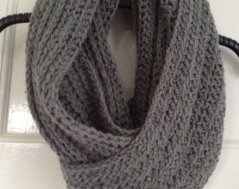 "Handmade Crochet in CHunky Knit Style Very Long Infinity Scarf in Grey 55"" x 8"""
