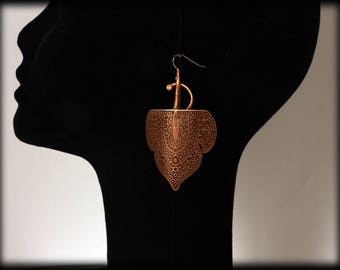 Kareem- Copper etched earrings by Ramosa Jewelry