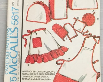 McCall's 5617 Apron Pot Holders Toaster Blender Cover Vintage 1970s Sewing Pattern UNCUT