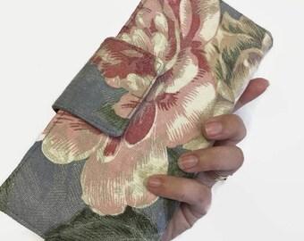 Women's Wallet, Credit Card Wallet, Floral Wallet, Gray Wallet, Large Wallet, Credit Card Holder, Womens Credit Card Holder