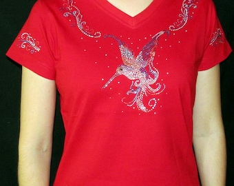 Rhinestone Hummingbird  Unique Custom Women's Cute Fun Glitter Cool Bling  V-neck T shirt Cindy's Handmade Shirts Boutique