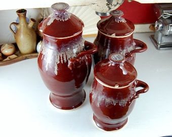 Kitchen Canister Set of Three in Red Agate -Made to Order