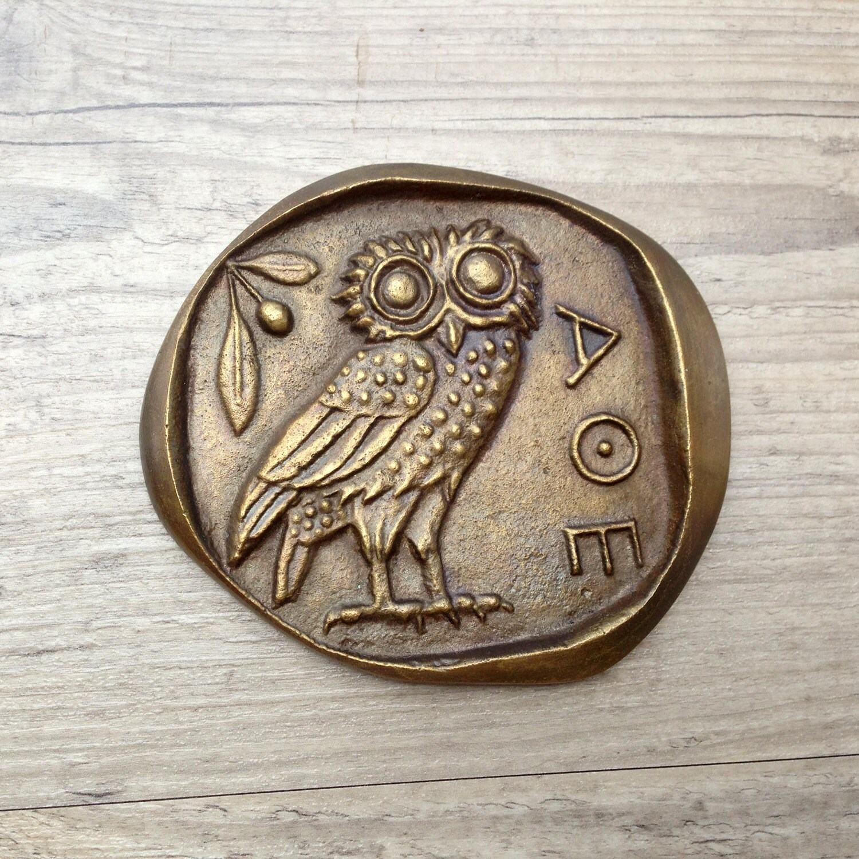 Bronze paperweight greek owlgoddess athena symbol museum zoom buycottarizona