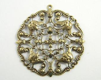 2 pcs. - Filigree Pendant, Brass Ox Filigree, Antiqued Brass Filigree, Round Filigree, Earring Dangle, 49mm x 52mm - (b136)
