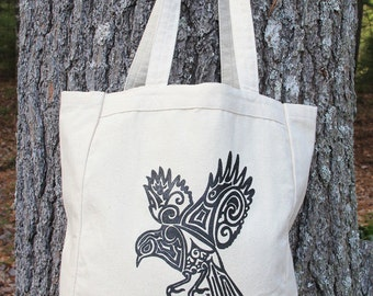 Bird Tribal Tattoo Design Grocery Tote Bag -  Screen Printed Original Design