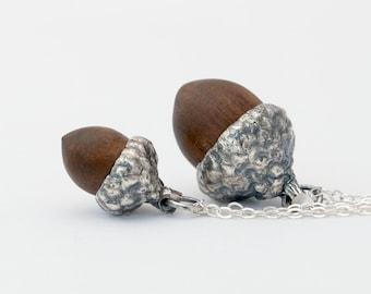 Acorn necklace - Mini or Medium sterling silver cast and walnut acorn