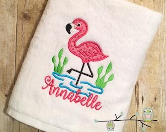 Monogrammed Beach Towel - Flamingo Applique Bath Towel - Personalized