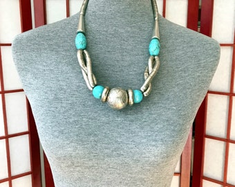Turquoise & Silver Necklace. Chic, Funky Statement Necklace.