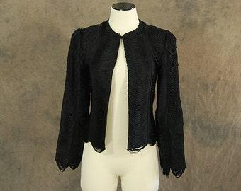 vintage 40s Fringe Jacket - 1940s Noir Black Draped Fringe Formal Jacket - Sz XS