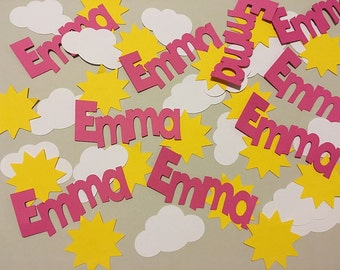 You Are My Sunshine Name Confetti Table Scatter Sunshine Baby Shower Decorations Sunshine Birthday Decorations CUSTOM Name Colors