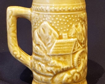 Vintage Miniature Beer Stein, Gold in Colour from F.W. Woolworth Made in Japan