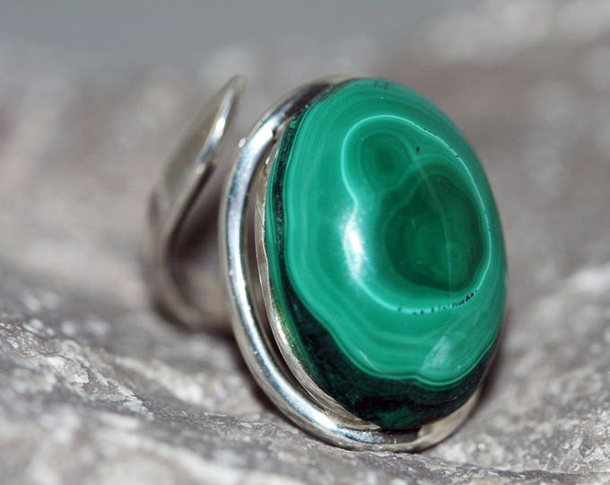 Elegant Malachite Ring fitted in sterling silver setting. Handmade & unique.