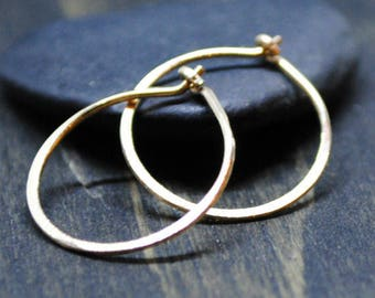 Gold Hoop Earrings - Small Gold Hoops - Minimalist Jewelry - Delicate Gold Earrings - Jewelry For Women