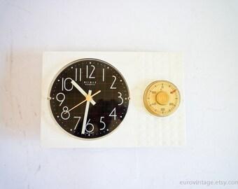 Vintage Kitchen Wall Clock w Timer / White Kitchen Clock 70s 80s
