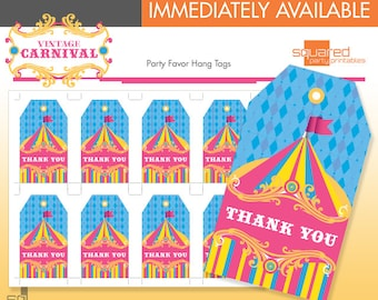 Vintage Circus Favor Tags - Printable Carnival Birthday Party - DIY Print - Bright Colors - Instant Download