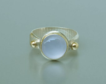 Chalcedony Ring, Gold and Silver Ring, Blue Chalcedony Cocktail Ring- Lavender Gemstone Ring, Gold Cabochon Ring, Made to Order