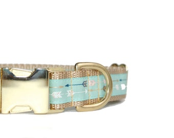 Mint Arrow Print Dog Collar Personalized Collar, , Being Discontinued, All Sales Final,