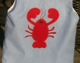 Lobster applique blue gingham Jon Jon Shortall sizes 9 months 4T
