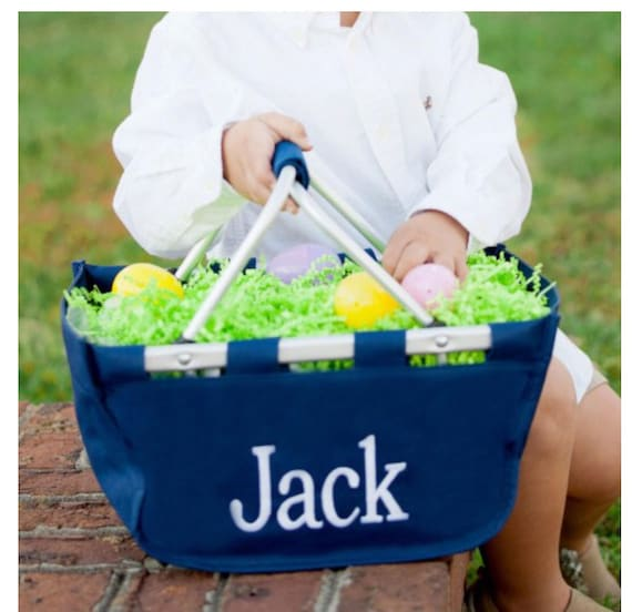 Navy blue mini Market tote picnic basket tote monogram basket tote personalized tote bag tailgate tote bag college dorm shower caddy basket