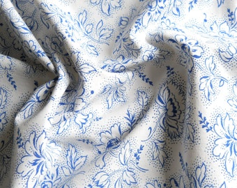 vintage blue floral fabric french vintage fabric blue fabric blue french fabric french floral fabric quilting fabric 115