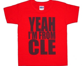 Toddler Tee - 'Yeah I'm From CLE' in Navy on Red Tee