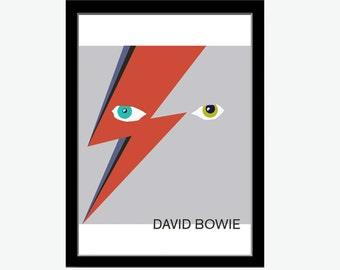David Bowie print, David Bowie art, David Bowie poster, Ziggy stardust inspired art, Ziggy stardust print, David Bowie artwork, Bowie gift