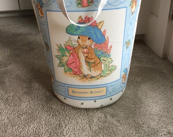 Beatrix Potter Benjamin Bunny and The Tailor of Gloucester storage hamper for diapers, toys, towels, laundry, nursery decor.