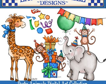 Party Clipart, Zoo Animal Clipart, Celebration Clipart, Birthday Clipart, Childrens Party Clipart, Laurie Furnell, Card Making, Scrapbooking