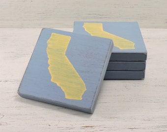 Any State, Pick Colors, Custom Wooden State Coasters, Set of 4, Wedding, Housewarming, California