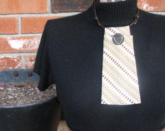 Necktie Necklace - Refashioned Necktie - Vintage Button