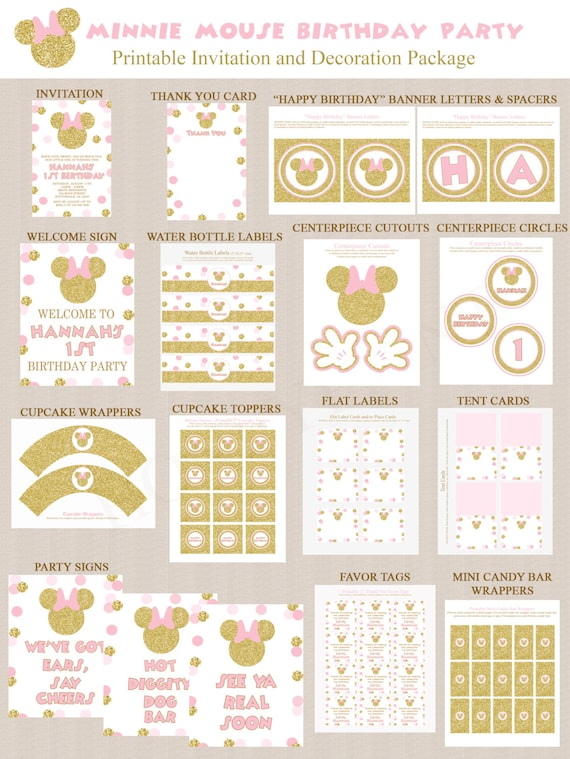 Minnie Mouse Birthday Party Decoration Printables and