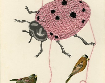 Nobody here but us ladybirds. Original mixed media collage by Vivienne Strauss.