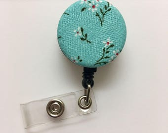 SALE !!!!! Flower Cotton Fabric Pattern Retractable ID Badge Reel Alligator Swivel Clip ID Badge Holder - Nurse Gifts Badge Clips - floral
