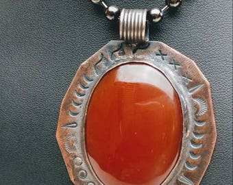 Carnelian and copper pendant.  jewelrybyjohndesign