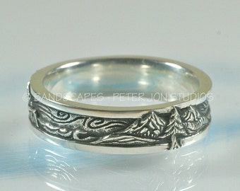 OCEAN WAVES Wedding Band with Oceans and Mountains.  Made to order in Sterling Silver,  Water Wind and Stone