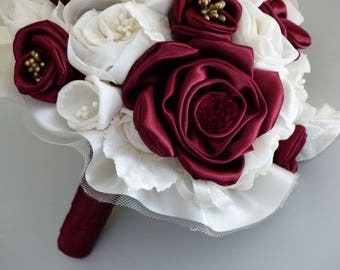 Burgundy and ivory flower bridal bouquet made by hand