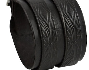 Wide leather cuff bracelet with double buckle black handmade straps leather cuff, black leather wristband with two narrow textured strips